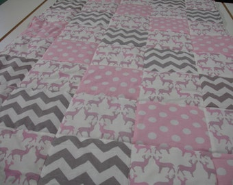 Meadow Deer Baby Pink Chevron and Polkas Minky Blanket MADE TO ORDER No Batting