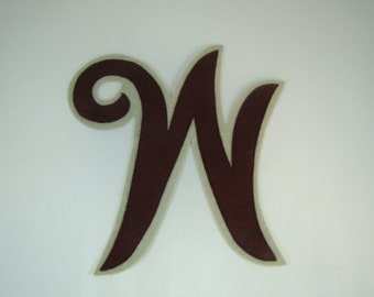 Vintage W Varsity Letter Script W Burgandy and Grey W Maroon and Gray Letter High School Letter