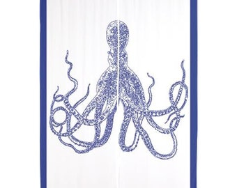 """Printed """"Octopus II"""" 84"""" Curtains navy blue and white"""