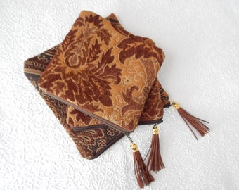 Upholstery pouch, dark brown chenille purse, tapestry purse, zipper pouch, lined clutch, fashion accessory, womens accessory