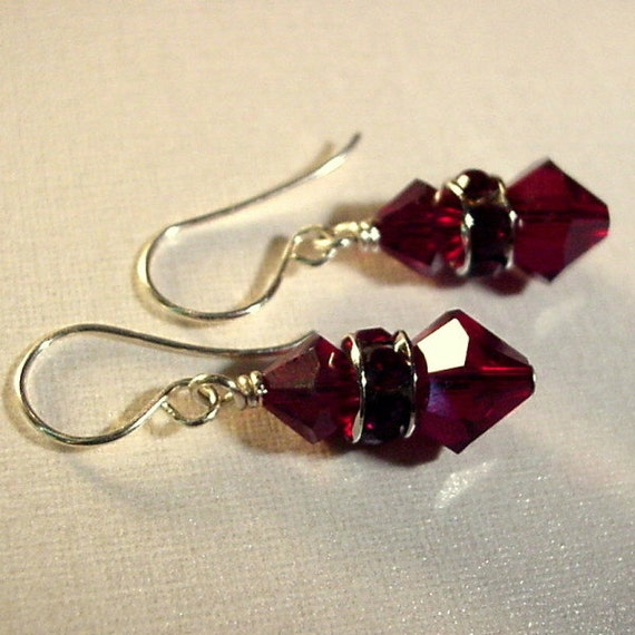 5 Year Wedding Anniversary Gift Jewelry : Crystal jewelry3 year anniversary GiftGarnet EarringsJanuary ...