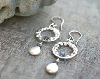 White Freshwater Pearl and Labradorite Gemstone Wire Wrapped Handmade Sterling Silver Earrings, June Birthstone Jewelry