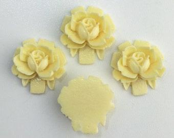 Vintage Style Creamy Ivory Rosebud Rose Cabochons 18mm  (4) cab266B