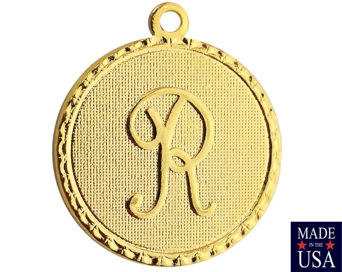 Gold Plated Letter R Initial Charm Drop with Loop (1) chr215R