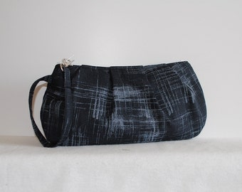 Pleated Wristlet Zipper Pouch // Clutch - Painters Canvas in Charcoal
