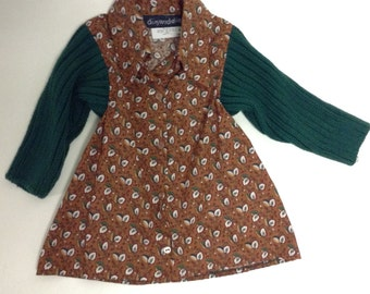 SALE Toddler Girls Button front Paisley Sweater dress tunic