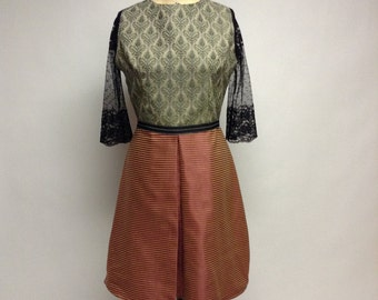 Quirky Mixed Media Jacquard and Lce dress
