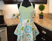 SweetHeart Bib Apron - Sassy Apron - Fancy Apron - Retro Apron - in Halle Rose Teal
