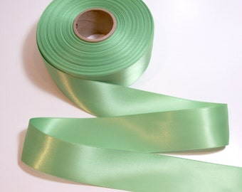 Light Green Ribbon, Double-Faced Green Apple Satin Ribbon 1 1/2 inches wide x 5 yards, Offray Pure Green