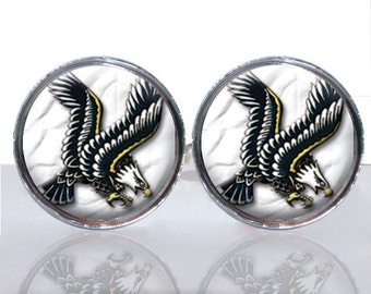Round Glass Tile Cuff Links - Retro Tattoo Eagle CIR107