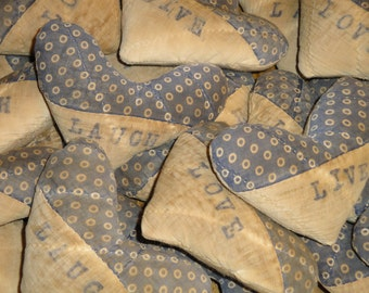 Old Quilt Hearts | Antique Quilt Hearts | Hearts Set Of 3 | Hand Stamped Hearts | Repurposed Old Quilt Hearts | LISTING IS FOR 3