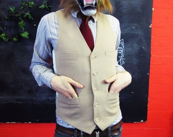 Vintage 1970s Traditional Beige Waistcoat w/ Matching Buttons Medium