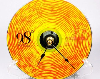 Cd Clock, Desk Clock, Wall Clock, 98 Degrees, Recycled Music Compact Disc, Upcycle, Battery, Wall Hanger & Stand ALL