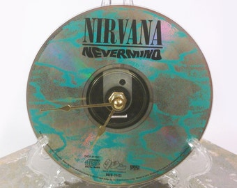 CD Clock, Desk Clock, Wall Clock, Nirvana - Nevermind, Recycled Music Compact Disc, Upcycle, Battery, Wall Hanger & Stand ALL INCLUDED