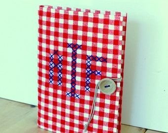 cross stitch monogram personalized red and white gingham brag book