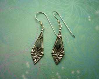 Vintage Sterling Silver Earrings - Black Onyx - 925 Hallmarked - Style 28