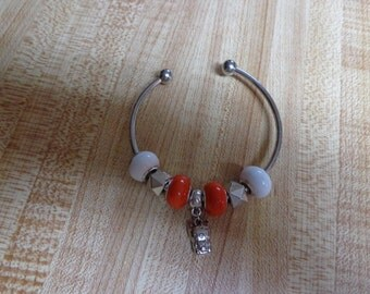 Pretty European Bracelet with orange and white beads and Animal Charm