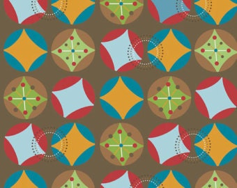 SALE -Riley Blake / Hooty Hoot Collection by Doohickey Designs / Hoot Starburst in Brown - By the Yard