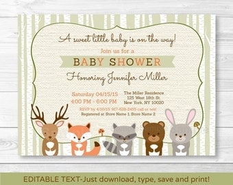 Woodland Baby Shower Invitation / Forest Animals / Birch Tree / Fox / Deer / Bear / Gender Neutral  / Editable PDF INSTANT DOWNLOAD
