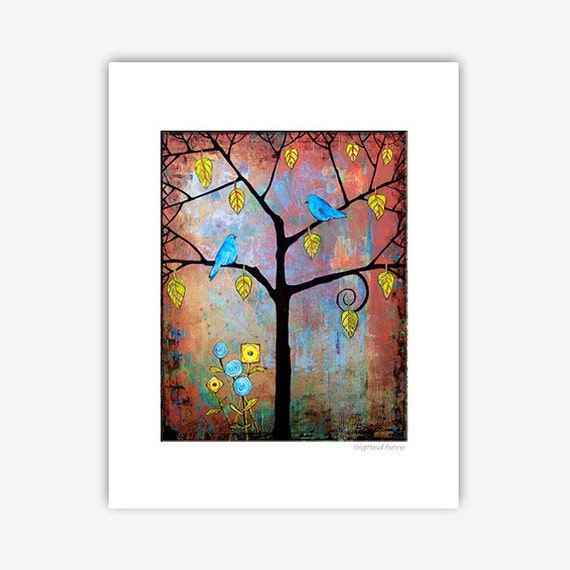 Tree Artwork, Friendship Gift, Tree of Life, Bluebirds of Happiness, Bare Tree, Art Print, Matted Prints