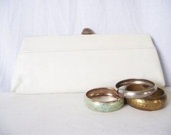 Vintage XL Winter White Vinyl Clutch - Goldtone Formal Purse - 1960s Long
