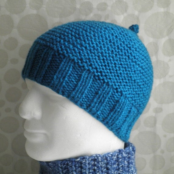 Pattern For Infinity Scarf Knit : KNITTING PATTERN Mans Simple Beanie Pattern / Knit Straight/