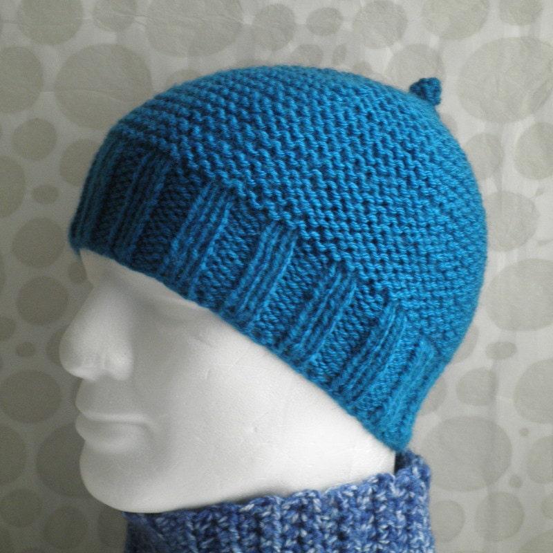 KNITTING PATTERN Mans Simple Beanie Pattern / Knit Straight/ Mans Easy Knit B...