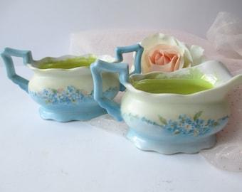Vintage Cream and Sugar Set Petite Blue Floral
