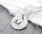 Hammered Sterling Silver Initial Necklace Simple Circle Necklace Initial Jewelry Personalized Jewelry Necklace Mother's Day Gift