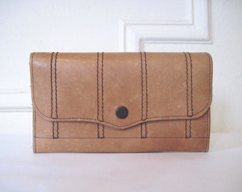 vintage 1970s honey brown striped leather wallet - Equestrian Prep, clutch style, Brazilian Cowhide