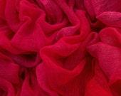 Hand dyed cotton gauze, cotton scrim fabric - red, dark pink, magenta, nuno felting supply, fibre art supply