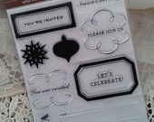Martha Stewart HOLIDAY INVITATIONS Clear Stamps FREE Gift with Purchase