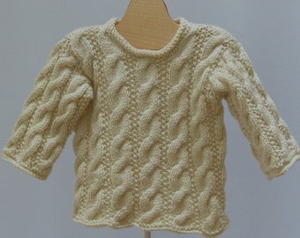 Baby  Off-white  Sweater Irish Aran Cable   12  month READY to SHIP