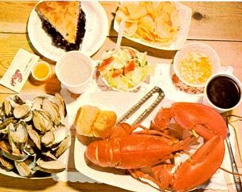 Vintage 50s Postcard - MAINE Postcard - 60s Maine - Vintage Maine - Maine Photo Post Card - Lobster Bake - Downeast Feast - Maine Lobster