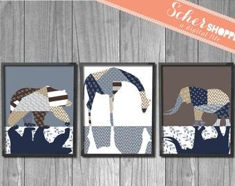 Set of Animal Nursery Art Prints DISCOUNTED Printable // Bear Elephant Giraffe Poster Neutral // Boy // Girl // INSTANT DOWNLOAD
