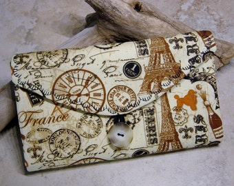Travel Jewelry Organizer, Clear Pocket Organizer Wallet, Paris Historic Travel Print Fabric,Jewelry Storage, Travel Jewelry,Carry On Storage