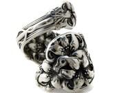Solid Sterling Silver Spoon Ring Size 3-8 Orange Blossom  Demitasse