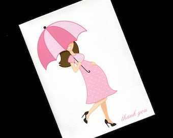 20 Baby Shower Thank You Cards - Baby Cards - Baby Thank You Cards - Baby Girl Thank You Cards - Mom To Be Pink Dress Dark Hair