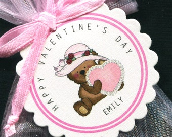 25 Personalized Valentine Favor Tags - Gift Tags - Valentine's Day Tags - Valentine Tags - Bear Holding Pink Heart With Pink Hat