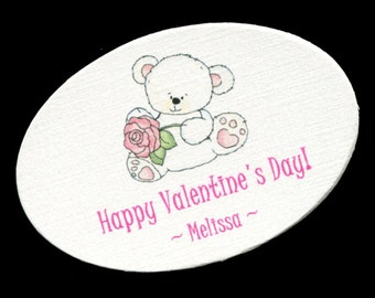 25 Personalized Valentine Tags - Valentine Gift Tags - Candy Tags - Valentine Label - Favor Tags - White Bear With Pink Rose Oval
