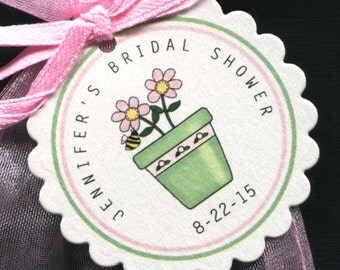 Personalized Bridal Shower Favor Tags - Bridal Shower Tags - Gift Tags - Wedding Tags - Floral Tags - Pink  - Personalized Tag - 25