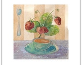 Tea Time Note Card with Envelopes - Blank 5x7 - Strawberries - Cup of Tea - Watercolor Cards - Thank You Note - Free Shipping