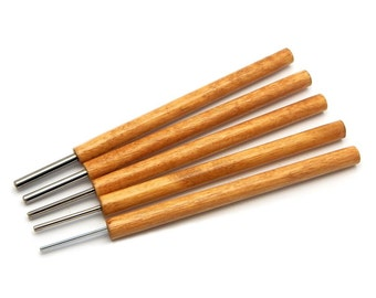 """Set of 5 - Slotted Paper Bead Rollers with 5/64"""", 3/32"""", 1/8"""", 5/32"""" and 3/16"""" Stainless Steel Winding Pins"""