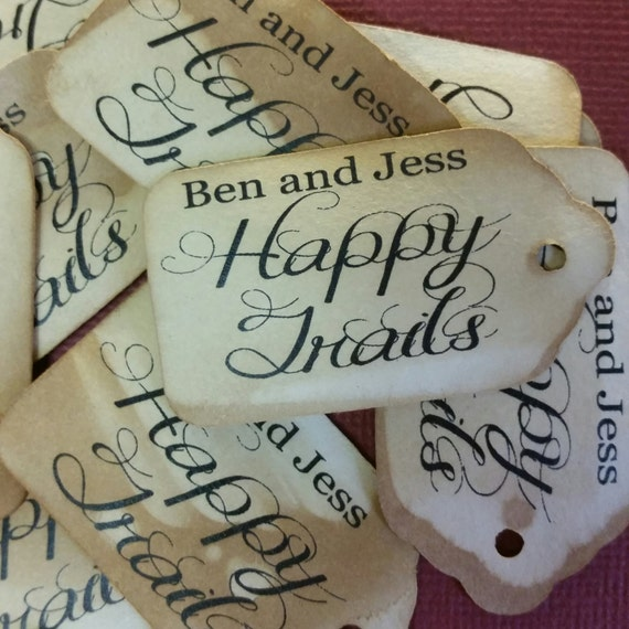 "Personalized Happy Trails 100 SMALL 2"" Favor Tag"