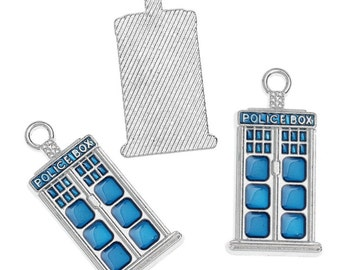 10x (14mm x 27mm) Small The Doctor Police Box Charms B32009