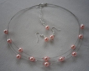 SALE Peachy Pink Floating Infinity Pearl Necklace with Crystal Accents and Matching Earrings