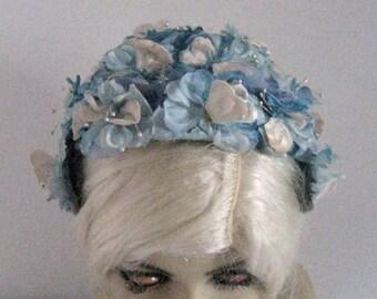 Blue Flower Headband Hat . Velvet Flower Hat . blue fascinator . headband hat