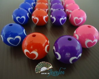 Big Round Beads with White Hearts, Valentine, Heart, Love, 20mm - 8x (Choose Your Color)