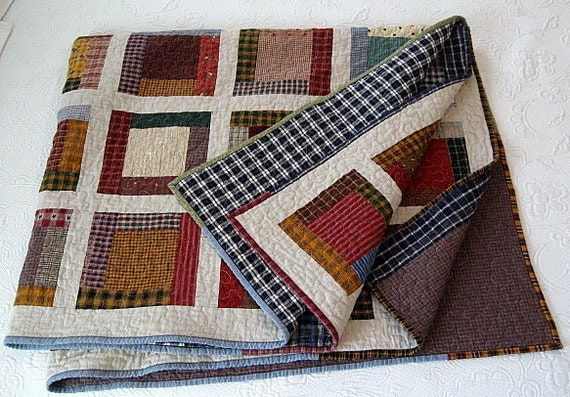 "farmhouse / homespun nap quilt.....65"" x 54"".....echo quilt no. 37.... READY TO SHIP"