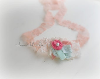 Corale - Tie Back Open Halo Headband Wrap - Peach Coral Aqua Mint Cream - Rosette Lace Pearl - Newborn Baby Girl Infant Adults - Photo Prop